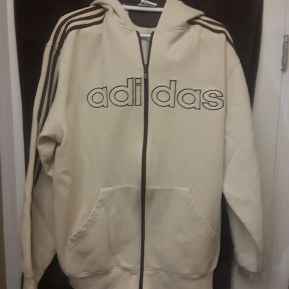 4688a9688ebc adidas Other - EUC - Men s Adidas Full Zip Hoodie - Cream   Brown